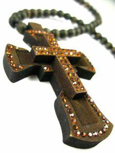 Good Wood Rhinestone Cross Pendant w/Ball Chain Brown NYfashion101inc. $24.99. Save 11%!
