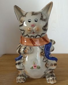 Cat Cookie Jar Container Blue Sleeveless Vest White Black Flower Holding Tail