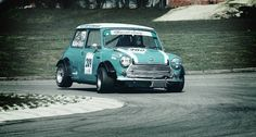 Racing Mini in action!  The rear, inside wheel often came up when cornering hard!