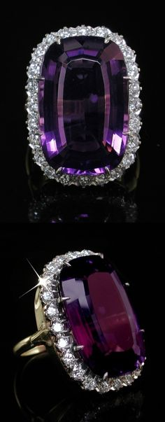 Vintage Amethyst Cocktail Ring  Eye catching is an understatement for this impressively large amethyst cocktail ring.  We consider that this ring was made around 1970 as a bespoke item. The ring measures 30 x 22mm and the lozenge shaped amethyst has a perfect balance of purple colouration and brightness. The setting and diamond border of the ring is entirley handmade to showcase the stone.  Amethyst: 23 carats. Diamond total ( x24)  1.20 carats. Metal tests as 18k yellow and white gold.