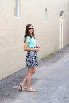 mint tee + bold print skirt #gtrsummerremix