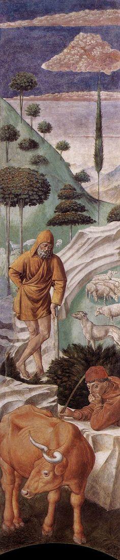Benozzo Gozzoli : The Vigil of the Shepherds (left wall of the apse) (Chapel, Palazzo Medici-Riccardi, Florence) 1421-1497 ベノッツォ・ゴッツォリ
