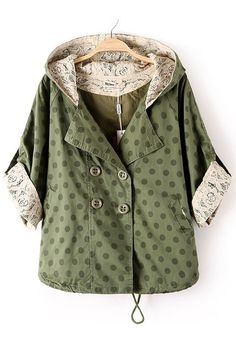 Army Green Polka Dot Drawstring Dacron Trench Coat