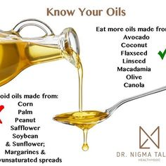 Know Which #Oils to Eat & Which to Avoid #AskDrNigma #Omega3 #InsideOut  Avoid: Oils made from corn, palm, peanut, safflower, soybean and sunflower; margarine and polyunsaturated spreads. Eat more: Oils made from avocado, coconut, flaxseed, linseed, macadamia, olive and canola. #YoungerSkinStartsInTheGut