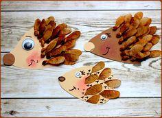 Igel aus Ahornsamen Stachel DIY basteln mit Kindern Herbst