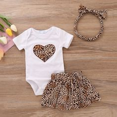 Baby Girl's Leopard Heart Print Bodysuit, Skirt and Headband Newborn Girl Outfits, Kids Outfits Girls, Toddler Girl Outfits, Baby Girl Dresses, Toddler Fashion, Baby Dress, Kids Fashion, Baby Clothes Online, Cute Baby Clothes