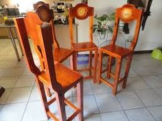 Bar chairs carved with your design Log Furniture, Handmade Furniture, Mass Production, Reclaimed Timber, Bar Chairs, Wood Carving, Rustic, Canning, Design