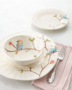 I think my grandchildren would love having their cereal and sandwiches on dinnerware like this! 12-Piece Colored Bird on Branch Dinnerware Service - Neiman Marcus