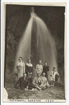 GREECE EDESSA WATERFALLS GREEK PEOPLE POSING OLD PHOTO CARD 1934
