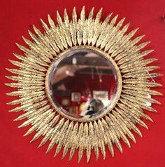 Gold mirror Mirror wall decor Sun mirror Sunshine mirror Sunburst mirror Gold frame Beveled mirror Golden frame Gold decor French vintage