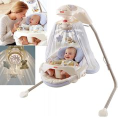 Baby Cradle Swing Infant Fabric Seat 16 Songs Feeding Tray Starlight Unisex New