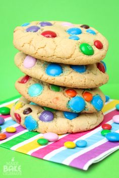 Jumbo M & M Stuffed Cookies Recipe ~ Says: The pictures of these cookies just don't do them justice! They are about an inch tall and 5 inches across. Just when you think it couldn't get any better…there's pudding in them too! Which keeps them nice and fluffy. I also used butter extract instead of traditional vanilla which gives them even more of a soft buttery taste!
