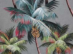 old cotton tripical palm leaf pattern material 1940's - Google Search