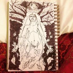 A little sketch idea for the hunters full moon. Luna! #creativeplay #artjournal #luna #harvestmoon #lettinggo #witch #wicca #wiccan