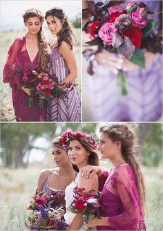 Beautiful boho breakfast wedding ideas - purple lace bridesmaid dresses