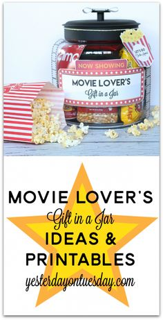 Movie Lover's Gift in a Jar with printable labels, tags and more. Plus, 29 more wonderful Christmas gift ideas.
