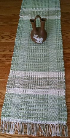 Handwoven table runner sage rag rug style by BackPorchCountry