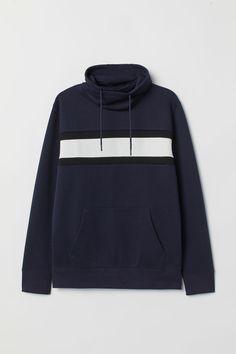 Shirt in thick jersey with wrapover chimney collar with drawstring. Kangaroo pocket, long sleeves, and ribbing at cuffs and hem. Mens Sweatshirts, Hoodies, H M Man, Collared Sweatshirt, Jersey, Sleeve Styles, Dark Blue, Man Shop, Long Sleeve