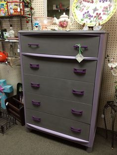 #handpainted grey & mulberry 1940's chest of drawers at Homestead Handcrafts, San Antonio, Texas.
