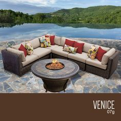 Venice 7 Piece Outdoor Wicker Patio Furniture Set 07g. Outstanding comfort and structural integrity make our Venice Seating Collection a welcome addition outdoors. Multifaceted, rich brown fibers are smoothly wrapped twice around concealed powder coated aluminum frames. Gently angled backs and curved arms encourage restful lounging. The industry's best high-performing fabrics encase the thick, double-wrapped foam cushions.Features:CUSHIONS - 6 inches thick for a luxurious look and…