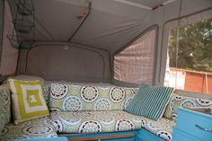 a wall between the bedroom and couch. remove the middle couch piece. create a pull out piece that can be a table or turn into seating area like above Popup Camper Remodel, Diy Camper, Camper Ideas, Apache Camper, Folding Campers, Trailer Tent, Retro Caravan, Gypsy Wagon, Remodeled Campers