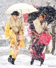 Japanese celebrate turning 20 with seijinshiki, or coming-of-age ceremonies. Held on Coming of Age Day on the second Monday in January, young men and women dress in suits and kimonos to attend events  held throughout the country.