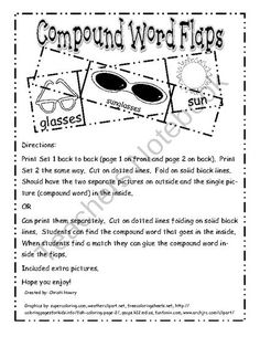 Compound Word Flaps from Bailli Bugs Bindergarten on TeachersNotebook.com (7 pages)  - Compound Word Flaps!!!