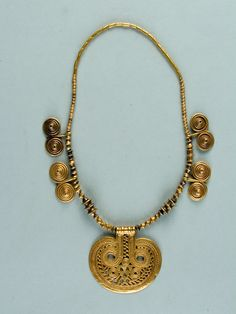 Necklace Gold, length 40 cm., diameter of the pendant 5.8 sm. Kakheti, Ananauri MuseumMuseum of Georgia CollectionArchaeology PeriodSecond half of the 3rd millennium B.C