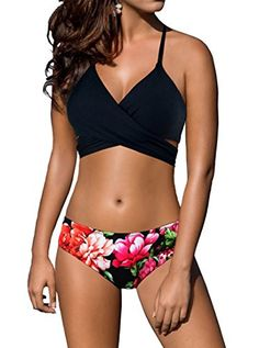 2f247afde8111 Univivid Bikini Women s Swimsuit Criss Cross Halter Style Top with Floral  Printed Bathing Suit Bottoms Underwear
