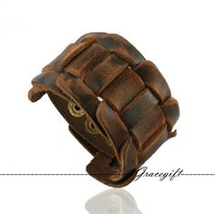 Men Bracelet, Leather Bracelet for Men, Punk Leather