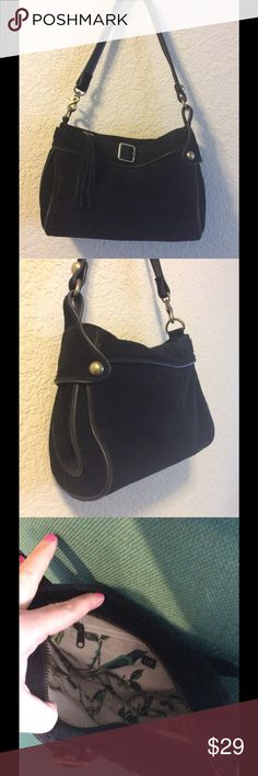 Gap black suede purse Cute little black suede purse with front buckle. Cute side accent. Well loved. Few marks in the suede on the front left side. Hard to see in the pictures and not noticeable unless you are looking for them GAP Bags Hobos
