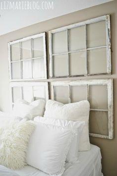 ways to repurpose old windows - antique window headboard from Liz Marie Blog