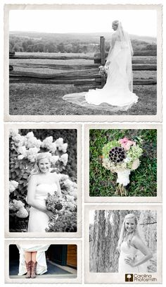 Bridal portrait collage, hydrangeas, horses