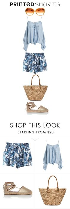 """""""Printed Shorts"""" by monica-khrucell on Polyvore featuring Sans Souci, Aquazzura, Straw Studios, Oliver Peoples and printedshorts"""