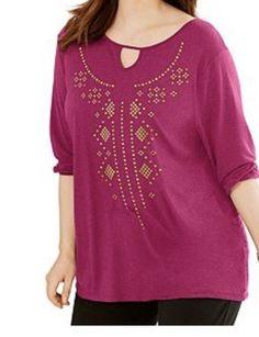 Just My Size Plus SIze 3/4 Sleeve Pink Top Shirt Tunic Top 1X  2X 3X 5X NWT #plussizefashion #Tunic #Casual #Plussize  #fashion