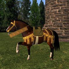 Medieval knight: Horse saddle and barding #1 (AKK 09)