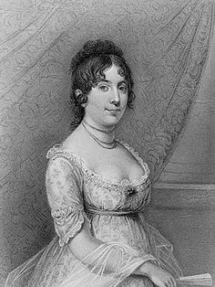 Dolly Madison, wife of President James Madison. Madison was 17 years her senior when he married the widowed Dolly. Her social graces made her famous and to this day, she remains one of the most admired and best loved first ladies of the White House.