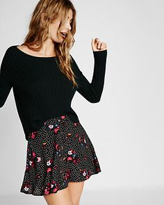 floral print button front mini skirt