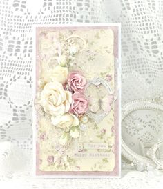 """Hi crafters! It's me, Cathrine here to show you a birthday card made with the collection """"Where the Roses Grow"""". I hope you like it! Have a nice day, and thank you for stopping by…"""