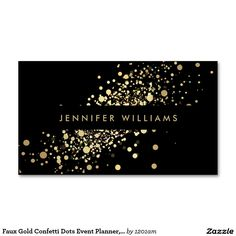 Faux Gold Confetti Dots Event Planner, Stylist Double-Sided Standard Business Cards (Pack Of 100)
