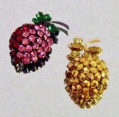 765~Vintage SCHREINER Rhinestone Figural Strawberry Fruit Brooch/Pins~1 Signed** #Schreiner