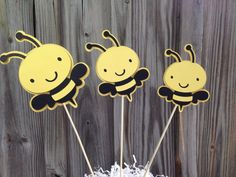 Set Of 6 Yellow And Black BUMBLE BEE Decorations On Wooden Sticks