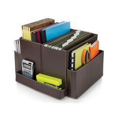Brown Vinyl Folding Desk Organizer