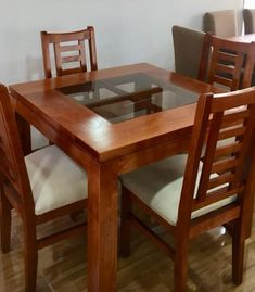 FINALIZAR COMPRA – MUEBLES CHILE Daining Table, 4 Chair Dining Table, Fabric Dining Room Chairs, Wooden Dining Chairs, Dining Furniture, Wooden Dining Table Designs, Dinning Table Design, Wood Chair Design, Kitchen Sink Design