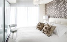 wall paper behind bed, light bedding    Small Master Bedroom Design, Pictures, Remodel, Decor and Ideas