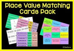 Place Value Matching Cards Activities Pack Primary Teaching, Teaching Math, Maths, Teaching Ideas, Place Value Activities, Math Activities, Writing Numbers, Writing Words, Cooperative Learning