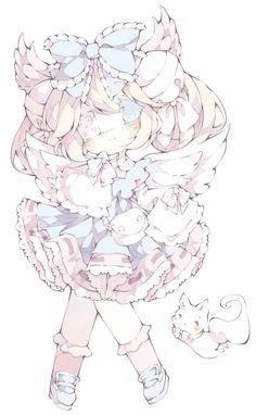 AT- Cutesu by LittleBlueMuffin on DeviantArt Kawaii Neko Girl, Manga Kawaii, Mode Kawaii, Cute Anime Chibi, Cute Anime Pics, Kawaii Art, Anime Character Drawing, Character Art, Character Design