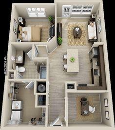 50 Plans en 3D d\'appartement avec 1 chambres   Plan gratuit, 3d et ...