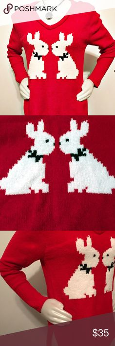 Betsy Johnson Red Sweater. Size M. A cozy , warm, and fun sweater with 2 white bunnies. 100% polyester. Machine washable. New with tag. Betsey John Sweaters V-Necks