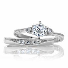 Natalia's Petite Faux Diamond Wedding Ring Set